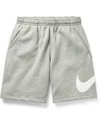 Nike Logo-print Fleece-back Cotton-blend Jersey Shorts - Gray