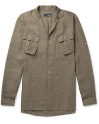 Lardini - Camp-collar Linen Shirt - Lyst