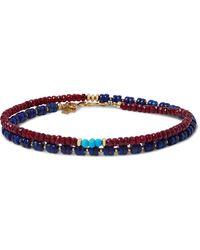 Peyote Bird Gold-plated Multi-stone Wrap Bracelet - Blue
