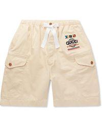 Gucci Wide-leg Appliquéd Cotton-twill Cargo Shorts - Natural