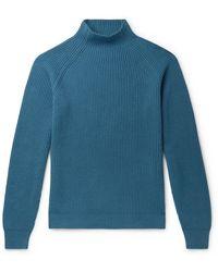 Loro Piana Ribbed Baby Cashmere Mock-neck Jumper - Blue