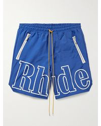 Rhude Mclaren Logo-print Nylon Drawstring Shorts - Blue