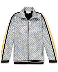 Gucci Webbing-trimmed Logo-embroidered Iridescent Jersey Track Jacket - Metallic