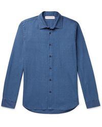 Orlebar Brown Giles Slim-fit Washed-denim Shirt - Blue