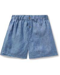 Emma Willis Linen Boxer Shorts - Blue
