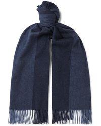 Loro Piana Fringed Colour-block Cashmere Scarf - Blue