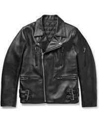 Blackmeans Slim-fit Leather Biker Jacket - Black