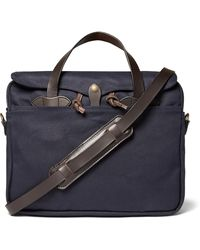 Filson Original Leather-trimmed Twill Briefcase - Blue