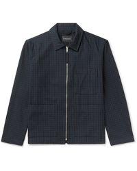 Club Monaco Checked Cotton-blend Blouson Jacket - Blue