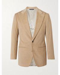 Saman Amel Slim-fit Cotton-corduroy Suit Jacket - Natural