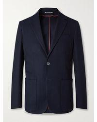 Canali Slim-fit Unstructured Herringbone Cotton-jersey Blazer - Blue