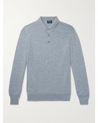 William Lockie Slim-fit Mélange Merino Wool Polo Shirt - Blue