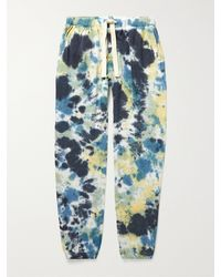 Jungmaven Yelapa Tapered Tie-dyed Hemp And Organic Cotton-blend Jersey Joggers - Blue