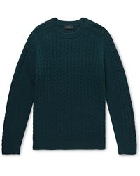 Theory Nardo Cable-knit Wool-blend Jumper - Green