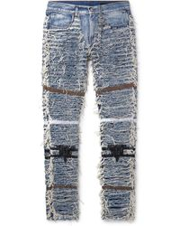 1017 ALYX 9SM Blackmeans Slim-fit Distressed Embroidered Denim Jeans - Blue