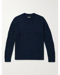 Nudie Jeans Didrik Cable-knit Cotton Jumper - Blue