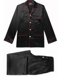 Isaia Piped Silk-blend Satin Pyjama Set - Black