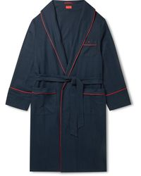 Isaia Piped Cotton And Cashmere-blend Twill Robe - Blue