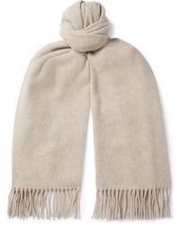 Acne Studios Fringed Mélange Wool Scarf - Natural