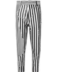Haider Ackermann Slim-fit Cropped Striped Twill Pants - Black