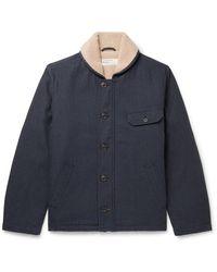 Universal Works N1 Deck Faux Shearling-lined Herringbone Cotton-blend Jacket - Blue