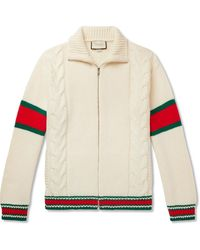 Gucci Striped Cable-knit Wool Zip-through Jacket - Natural