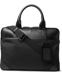 Montblanc Sartorial Jet Nylon-panelled Cross-grain Leather Briefcase - Black