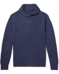 J.Crew - Shawl-collar Donegal Merino Wool-blend Jumper - Lyst