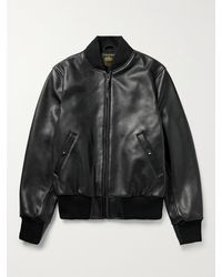Golden Bear Leather Bomber Jacket - Black