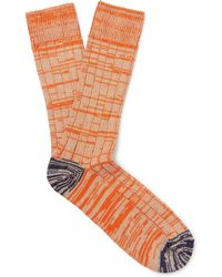 The Workers Club - Mélange Cotton And Nylon-blend Socks - Lyst
