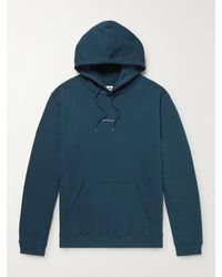 NN07 Barrow Printed Combed Cotton-jersey Hoodie - Blue