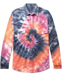 The Elder Statesman Oversized Tie-dyed Wool, Cashmere And Cotton-blend Flannel Shirt - Multicolour