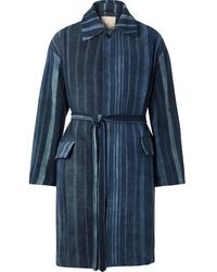 Monitaly Belted Striped Cotton Coat - Blue