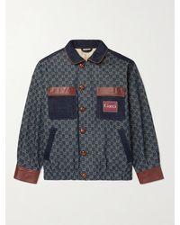 Gucci Leather-trimmed Logo-jacquard Organic Denim Jacket - Blue