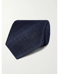 Tom Ford 8cm Checked Textured-silk Tie - Blue