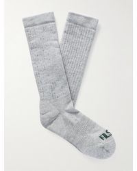 Filson Logo-intarsia Merino Wool-blend Socks - Grey