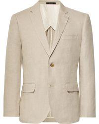 Club Monaco - Beige Slim-fit Grant Linen Suit Jacket - Lyst