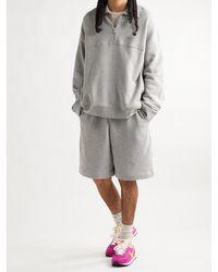 NINETY PERCENT Organic Cotton-jersey Half-zip Sweatshirt - Grey