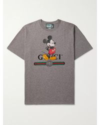 Gucci Disney Logo-print Mélange Cotton-jersey T-shirt - Grey
