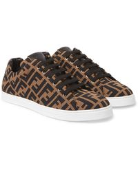 Fendi Ff Motif Mesh Sneakers - Brown
