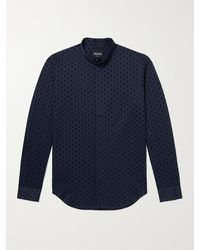Giorgio Armani Grandad-collar Flocked Cotton-sateen Shirt - Blue