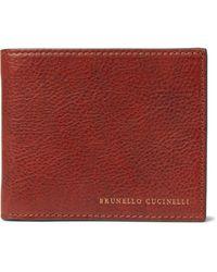 Brunello Cucinelli Burnished Full-grain Leather Billfold Wallet - Brown