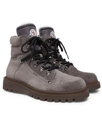 Moncler Egide Shearling-lined Suede Walking Boots - Gray