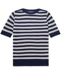 Yuri & Yuri Striped Serie-knit T-shirt - Blue