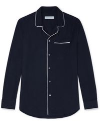 Desmond & Dempsey Brushed-cotton Twill Pyjama Shirt - Blue
