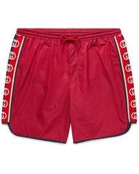 Gucci Slim-fit Mid-length Logo Webbing-trimmed Swim Shorts - Red