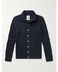 S.N.S. Herning Stark Textured Virgin Wool Cardigan - Blue