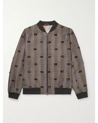 Etro Fringed Striped Linen And Wool-blend Jacquard Bomber Jacket - Multicolour