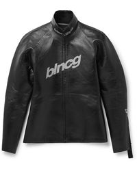 Balenciaga Slim-fit Zip-detailed Logo-print Leather Jacket - Black