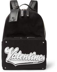 Valentino - Garavani Rookie Leather-trimmed Appliquéd Canvas Backpack - Lyst